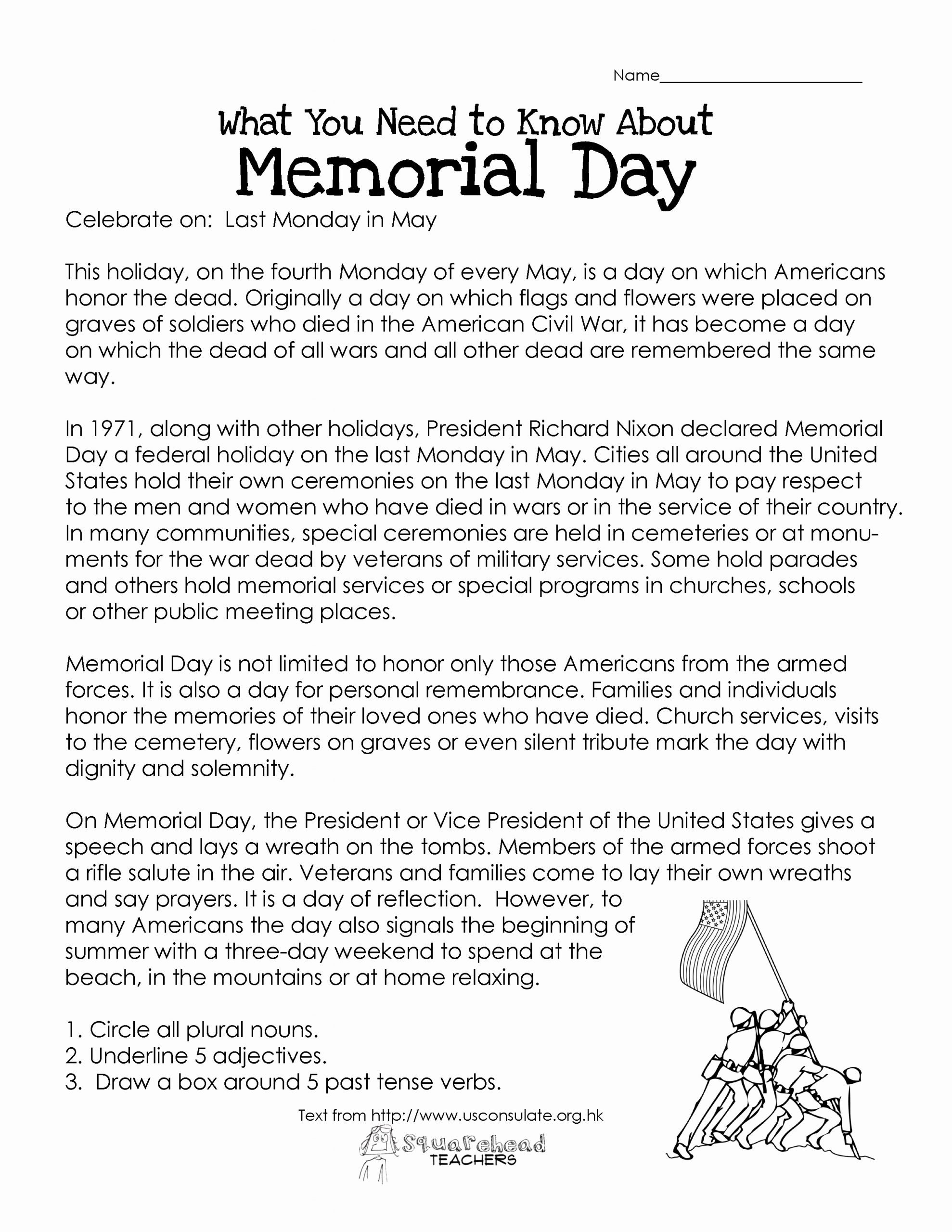 Memorial Day Reading Comprehension Worksheets Best Of Memorial Day Free Worksheet