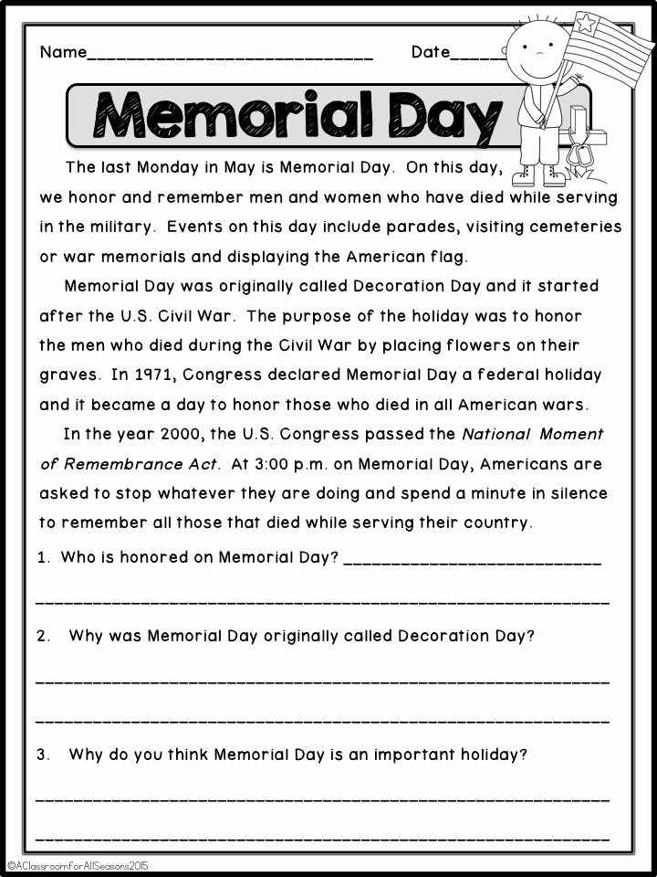 Memorial Day Reading Comprehension Worksheets Inspirational May Reading Prehension Passages these are High Interest
