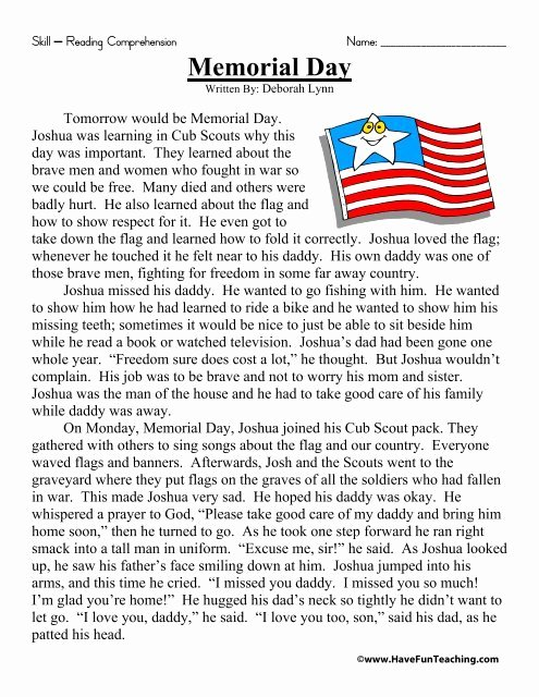 Memorial Day Reading Comprehension Worksheets New Memorial Day Reading Prehension Have Fun Teaching