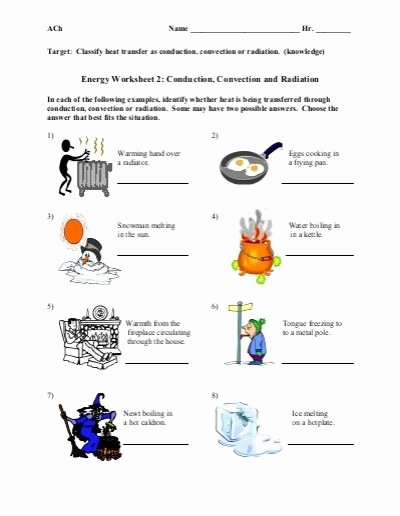 Methods Of Heat Transfer Worksheet top Conduction Convection Radiation Worksheet