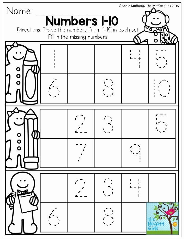 Missing Number Worksheets 1 10 Kids December Fun Filled Learning with No Prep