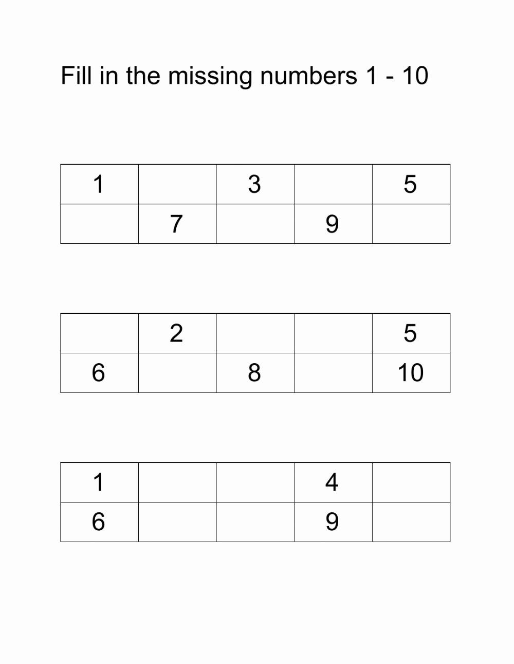 Missing Number Worksheets 1 10 top Fill In the Missing Numbers 1 10 Interactive Worksheet