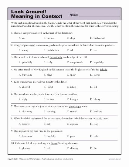 Mood Worksheets for Middle School Best Of Look Around Meaning In Context Middle School Worksheets