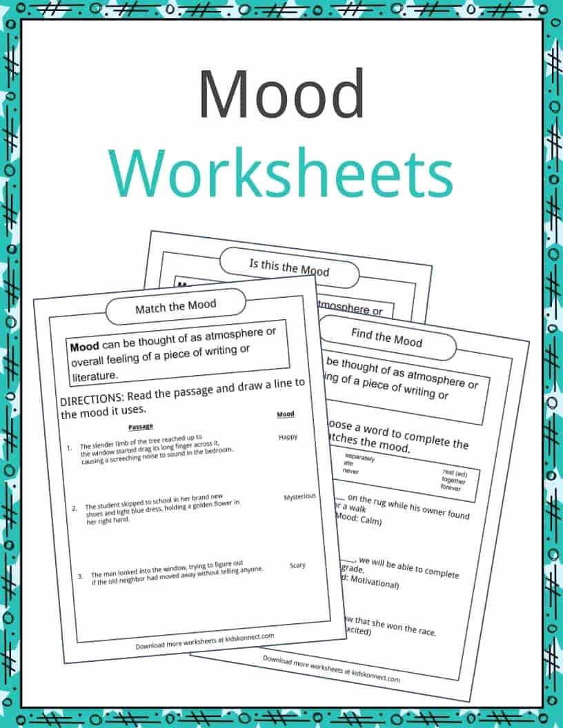 Mood Worksheets for Middle School Best Of Mood Examples Definition and Worksheets