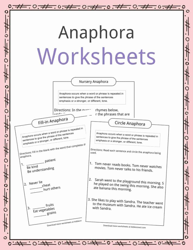 Mood Worksheets for Middle School New Anaphora Examples Definition & Worksheets for Kids