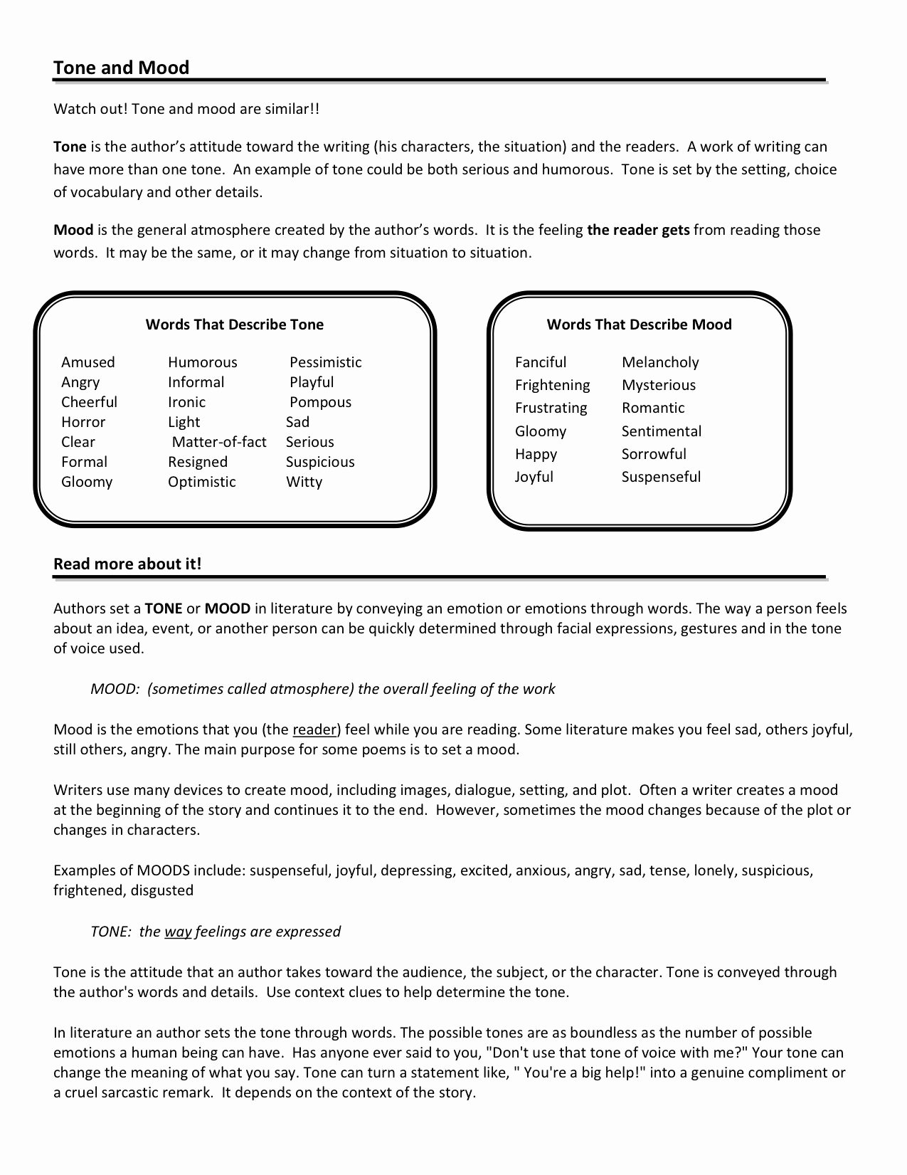 Mood Worksheets for Middle School Printable tone and Mood Worksheets Google Search