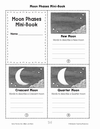 Moon Phases Worksheet 4th Grade Inspirational Minibook Moon Phases