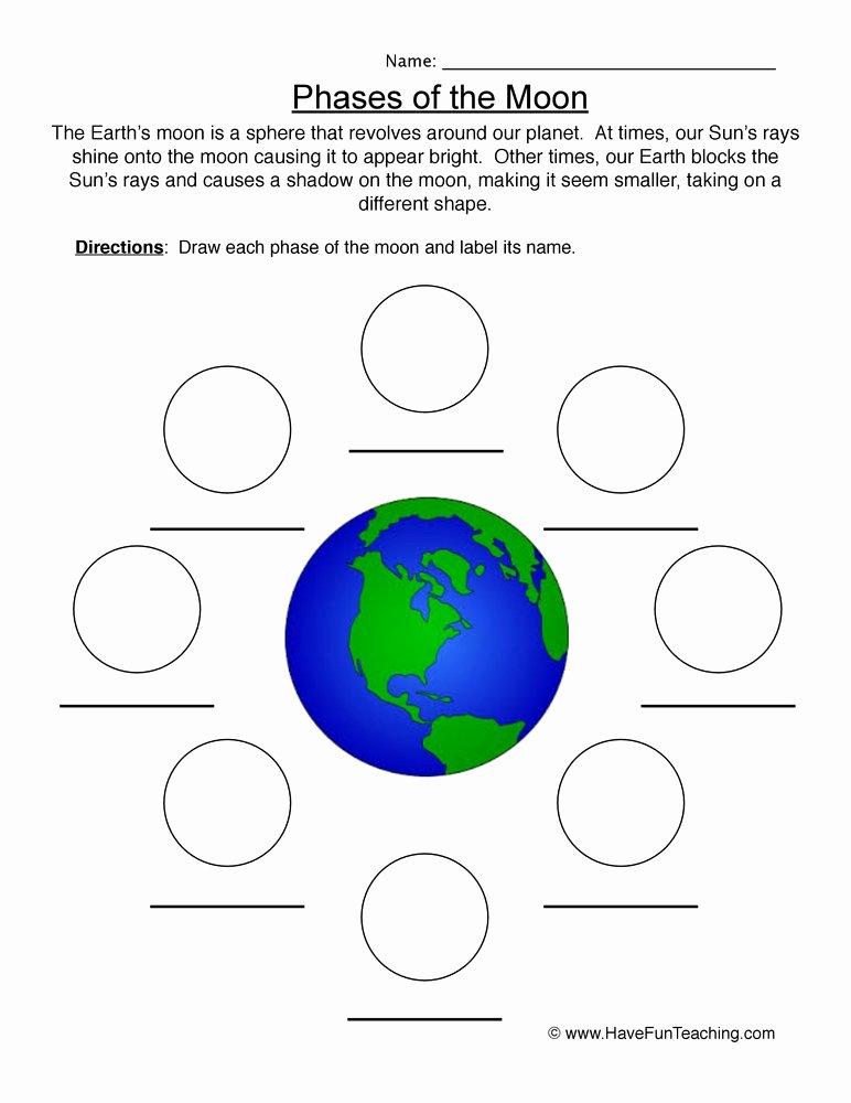 Moon Phases Worksheet 4th Grade Printable Drawing Moon Phases Worksheet