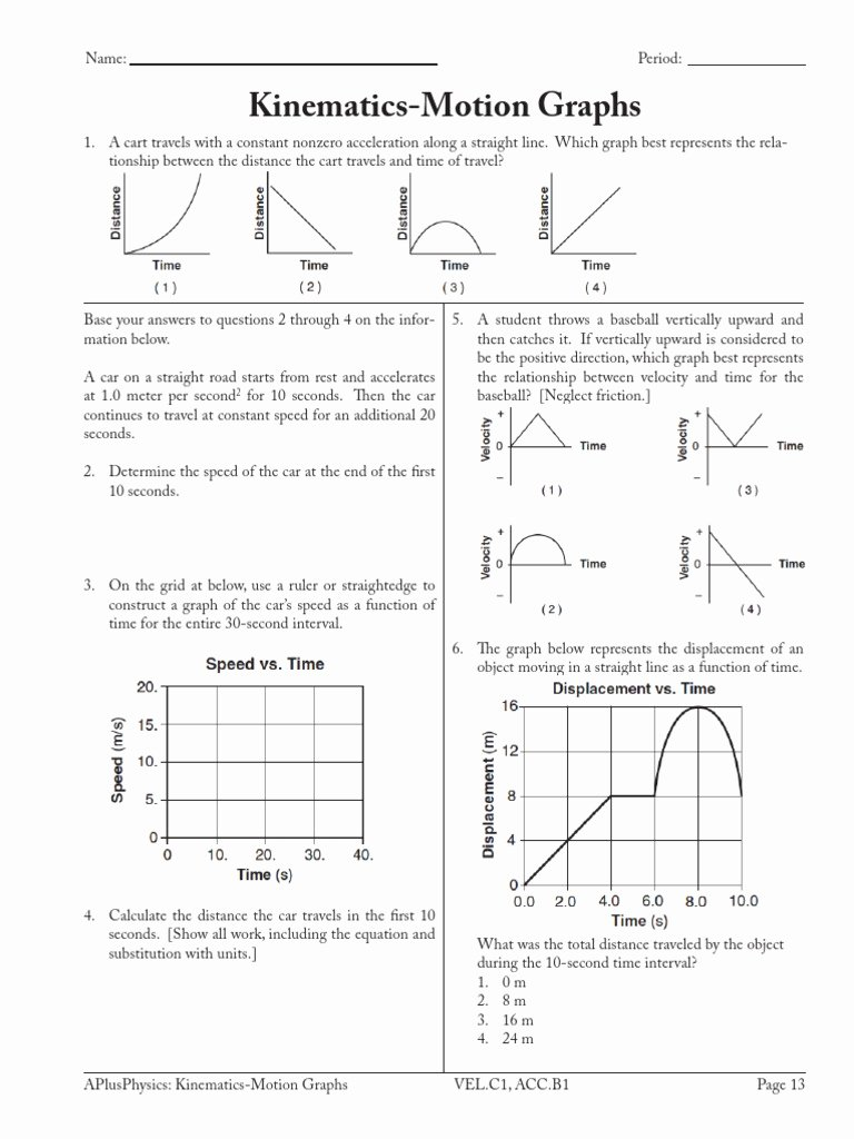 Motion Graphs Worksheet Answer Key Lovely Kinematics Motion Graphs Acceleration