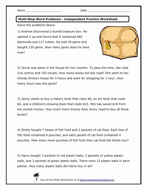 Multiple Step Word Problem Worksheets Fresh Multi Step Word Problems Independent Practice Worksheet Math