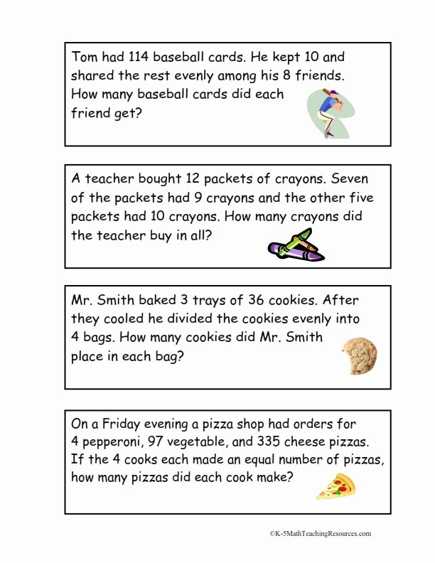 Multiple Step Word Problem Worksheets Kids 4th Grade Number