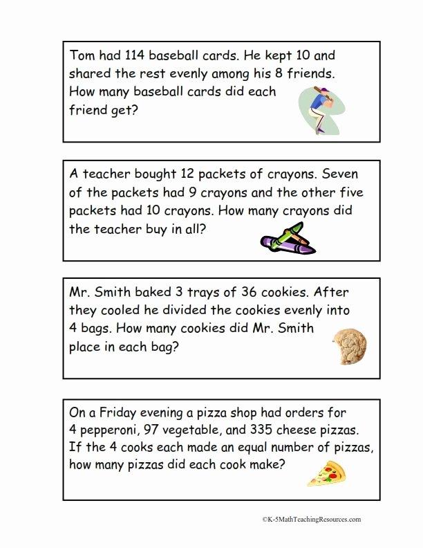 Multiple Step Word Problem Worksheets Kids 4th Grade Number