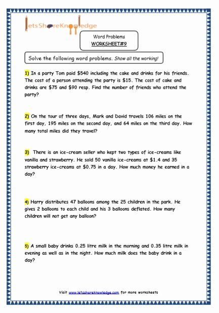Multiple Step Word Problem Worksheets Kids Worksheet Multiple Step Word Problems Grade Maths