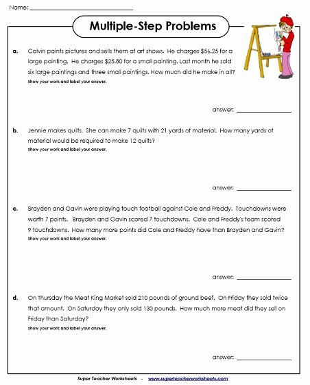 Multiple Step Word Problem Worksheets Lovely Multiple Step Word Problem Worksheets Multi Problems Free