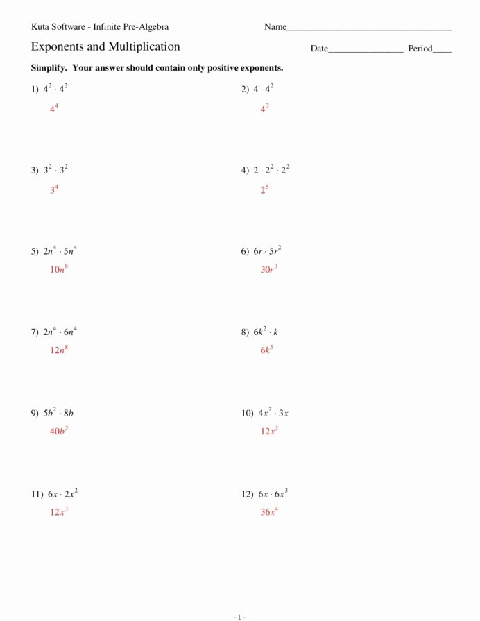Multiplication Properties Of Exponents Worksheet Lovely Exponents and Multiplication Kuta software Llc Worksheets