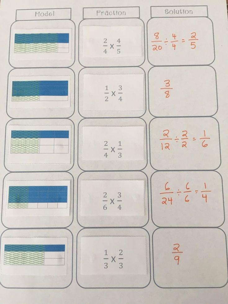 Multiplying Fractions area Model Worksheet Fresh Multiplying Fractions sort Includes 2 Additional