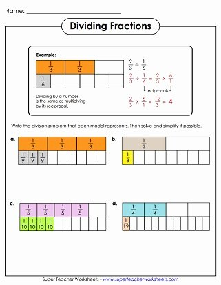 Multiplying Fractions area Model Worksheet Inspirational Dividing Fractions & Mixed Numbers Worksheets