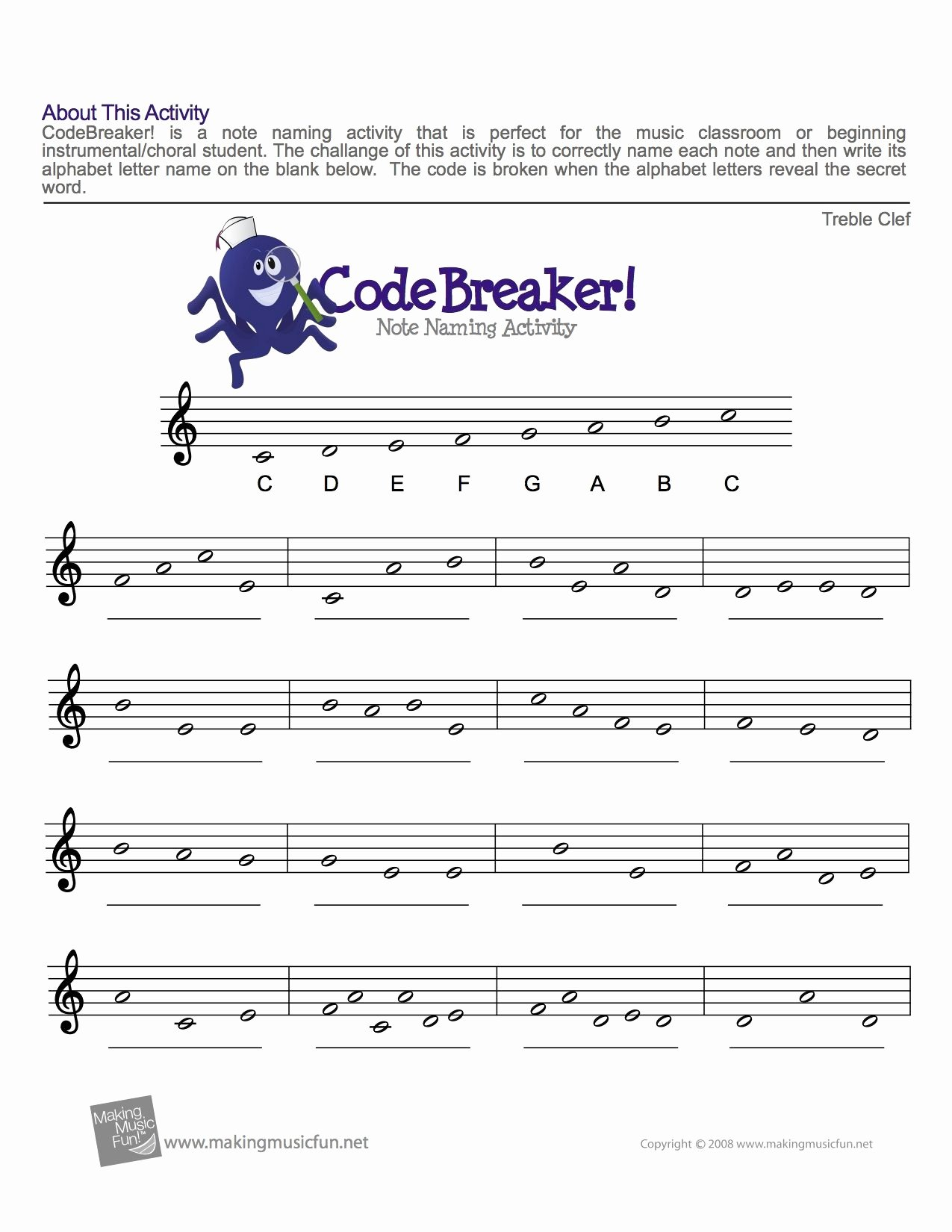 Music theory Worksheet for Kids Best Of Treble Clef Fun Note Reading