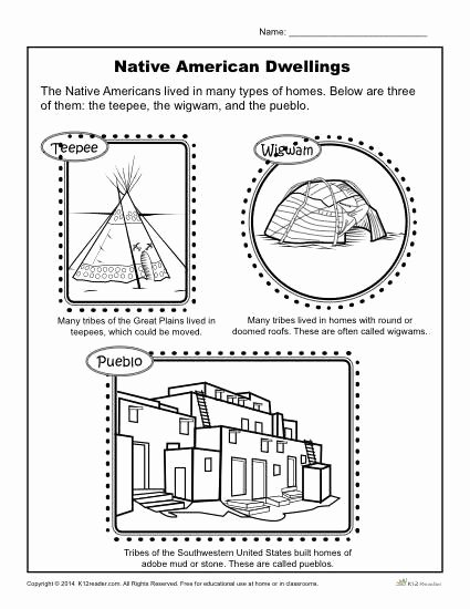 Native American Worksheets 5th Grade Fresh Native American Dwellings Reading Worksheets Spelling