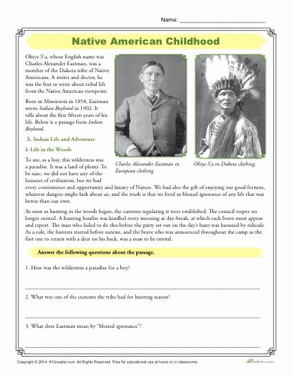 Native American Worksheets 5th Grade Ideas Native American Childhood Prehension Activity