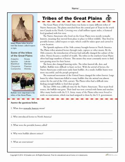 Native American Worksheets 5th Grade top Tribes Of the Great Plains Printable Prehension Activity