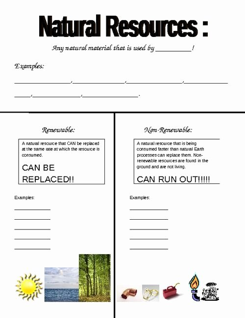 Natural Resources Worksheets 3rd Grade Free Renewable Vs Non Worksheet Pdf