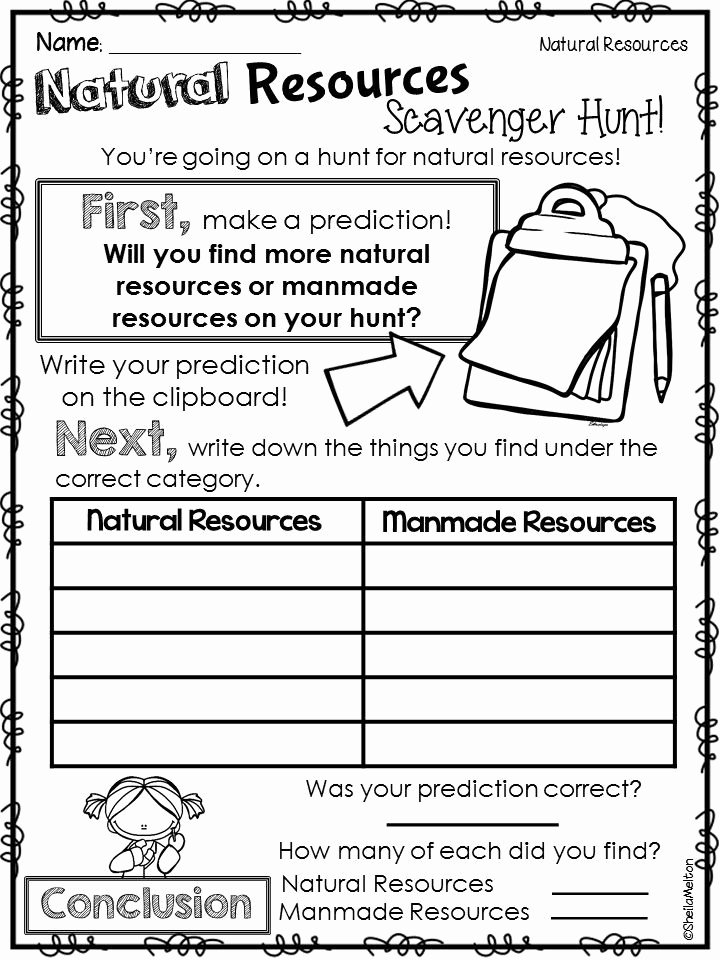 Natural Resources Worksheets 3rd Grade Ideas Natural Resources Scavenger Hunt Students Look for Natural