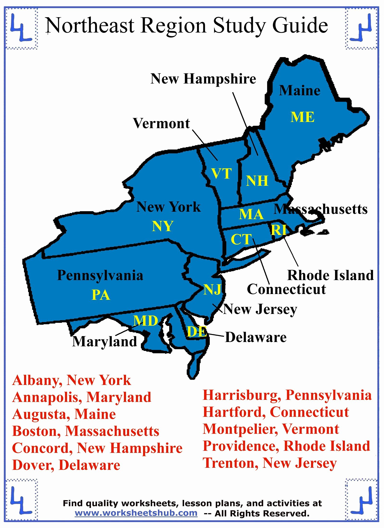 Northeast States and Capitals Worksheet Free Fourth Grade social Stu S northeast Region States and