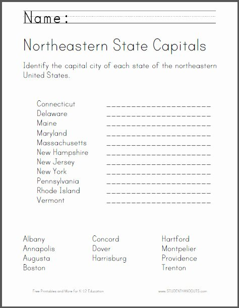 Northeast States and Capitals Worksheet Printable northeastern States Map Quiz Printout Answers States and