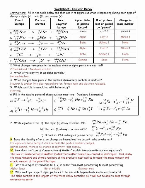 Nuclear Decay Worksheet Answer Key Lovely Worksheet Nuclear Decay