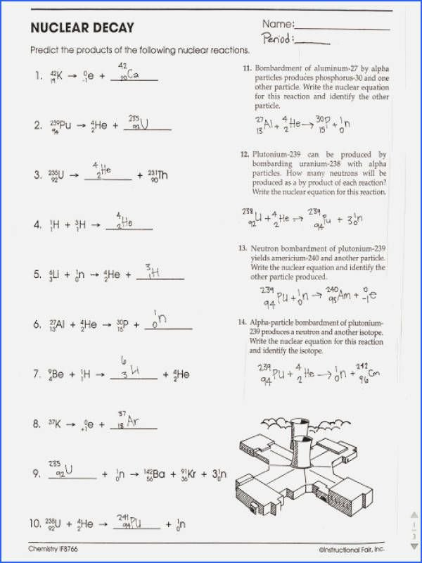 Nuclear Decay Worksheet Answers Key New Nuclear Equations and Radioactive Decay Worksheet Answers