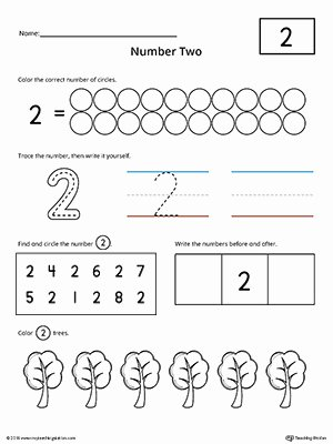 Number 2 Worksheets for Preschool Best Of Number 2 Practice Worksheet