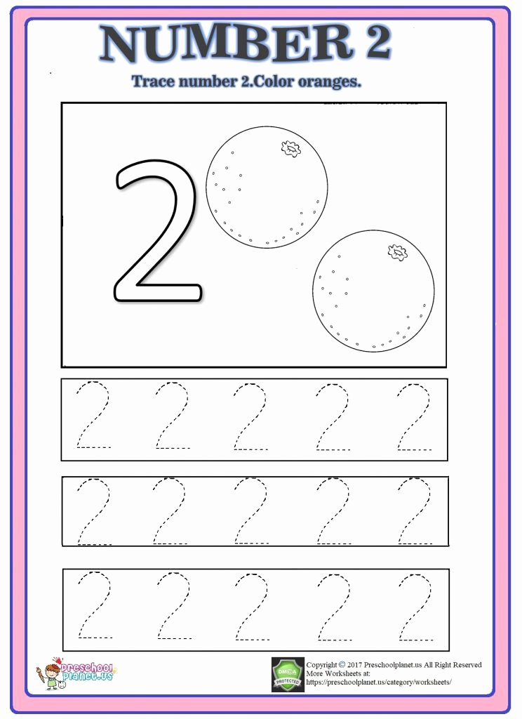 Number 2 Worksheets for Preschool Best Of Number Trace Worksheet Preschoolplanet Worksheets for