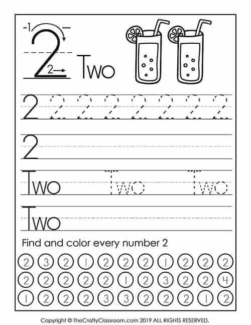 Number 2 Worksheets for Preschool Free Preschool Number Worksheets Preschool Mom