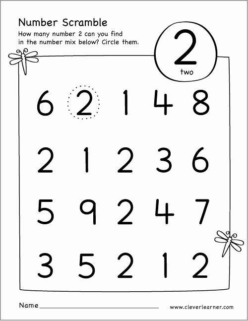 Number 2 Worksheets for Preschool New Free Printable Scramble Number Two Activity