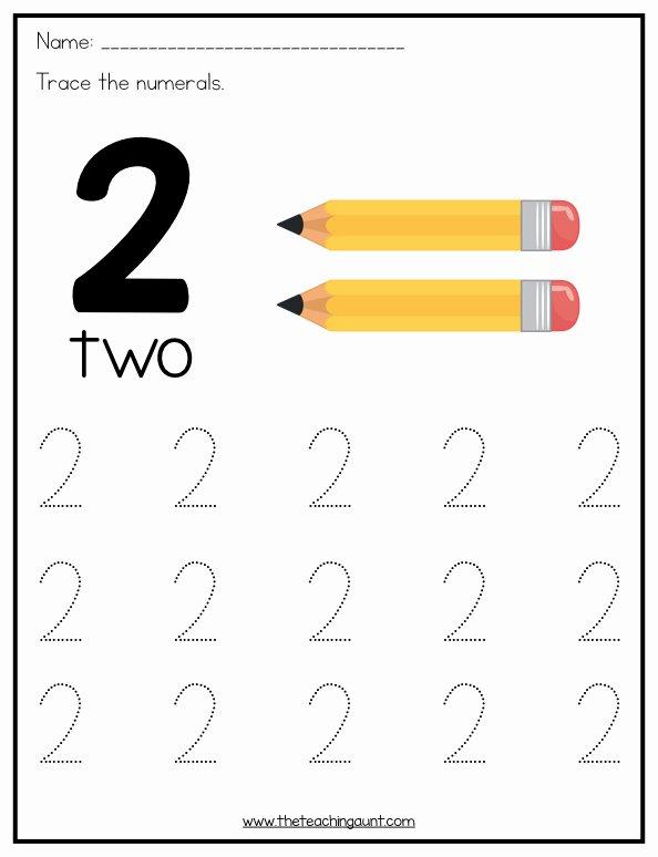 Number 2 Worksheets for Preschool Printable Number Tracing Worksheets for Preschoolers the Teaching Aunt