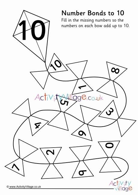 Number Bonds to 10 Worksheet Free Kite Number Bonds to 10 Worksheet