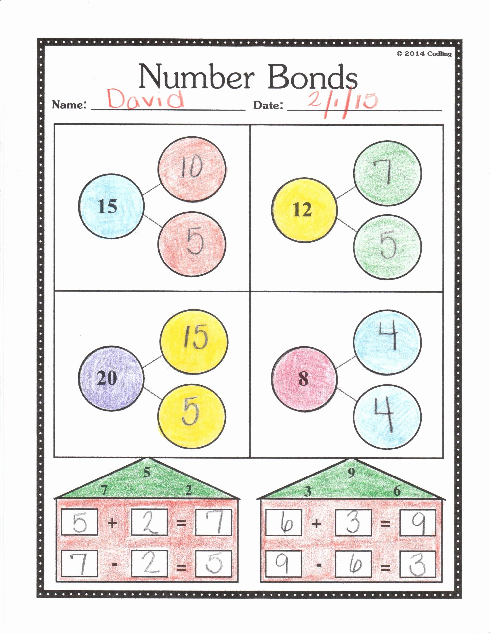 Number Bonds Worksheets 1st Grade Fresh Number Bonds Worksheet First Grade