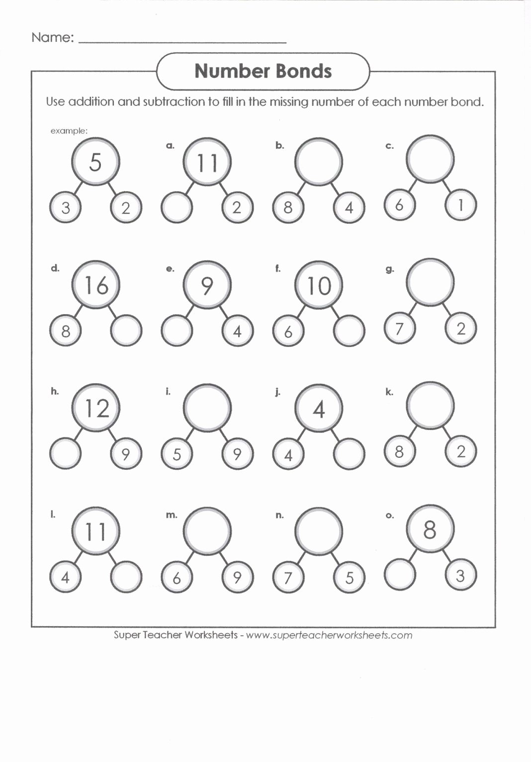 Number Bonds Worksheets 1st Grade Printable Pin On Hugo