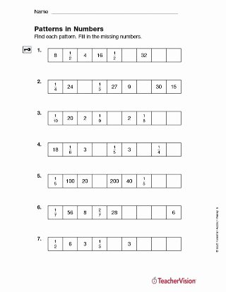 Number Pattern Worksheets 5th Grade Fresh Patterns In Numbers Fractions Printable 5th Grade