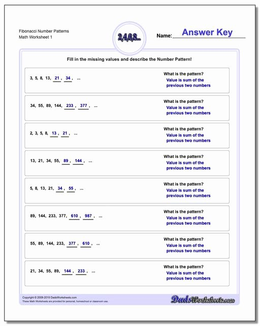 Number Pattern Worksheets 5th Grade Ideas Number Patterns