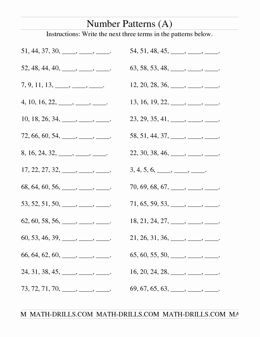 Number Pattern Worksheets 5th Grade New Growing and Shrinking Number Patterns A Patterning