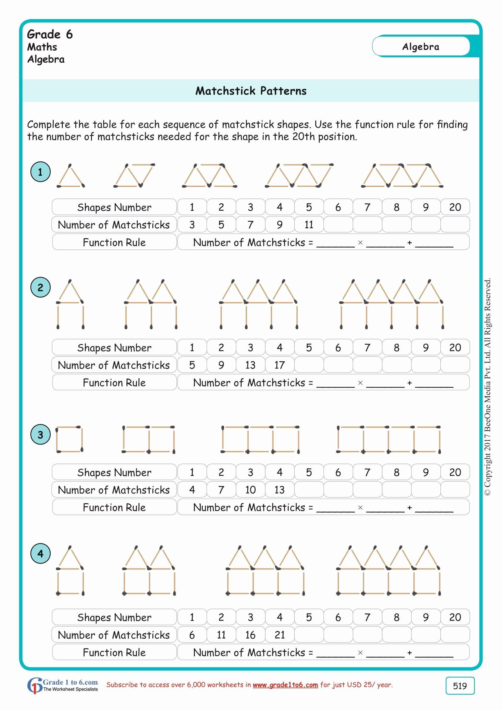 Number Patterns Worksheets Grade 6 Inspirational Grade 6 Class Six Matchstick Patterns Worksheets
