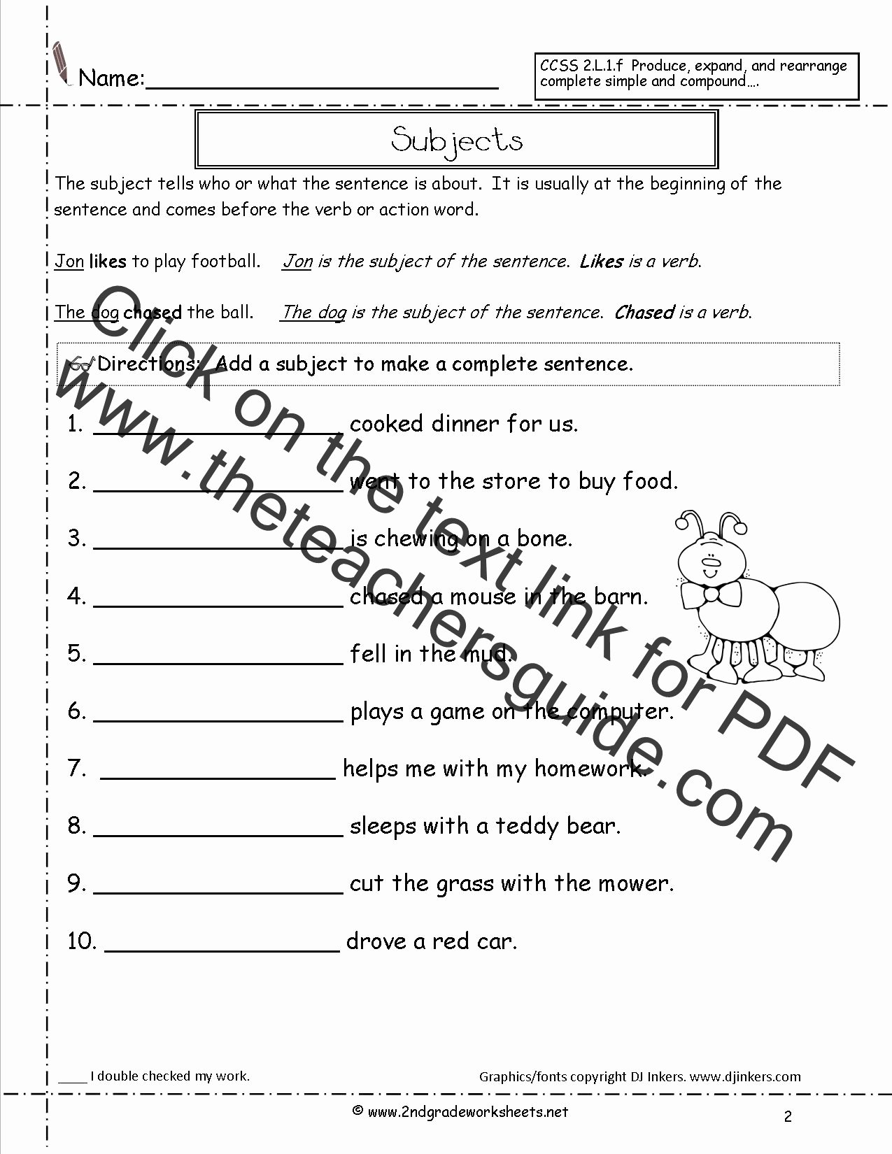 Number Sentence Worksheets 2nd Grade Ideas Second Grade Sentences Worksheets Ccss 2 L 1 F Worksheets