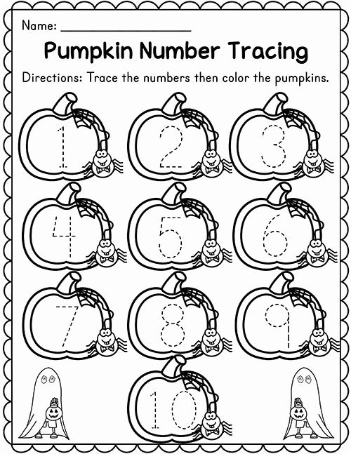 Number Tracing Worksheet 1 10 Ideas Pumpkin Number Tracing 1 10 Madebyteachers