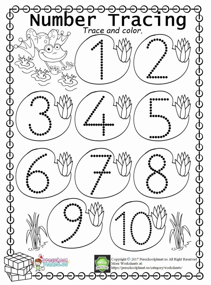 Number Tracing Worksheets for Kindergarten Ideas Worksheet Worksheets Kindergarten Trace Freeintable All