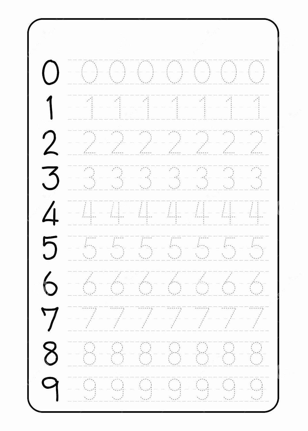 Number Tracing Worksheets for Kindergarten Inspirational Number Trace Worksheets Kindergarten Tracing for Preschool