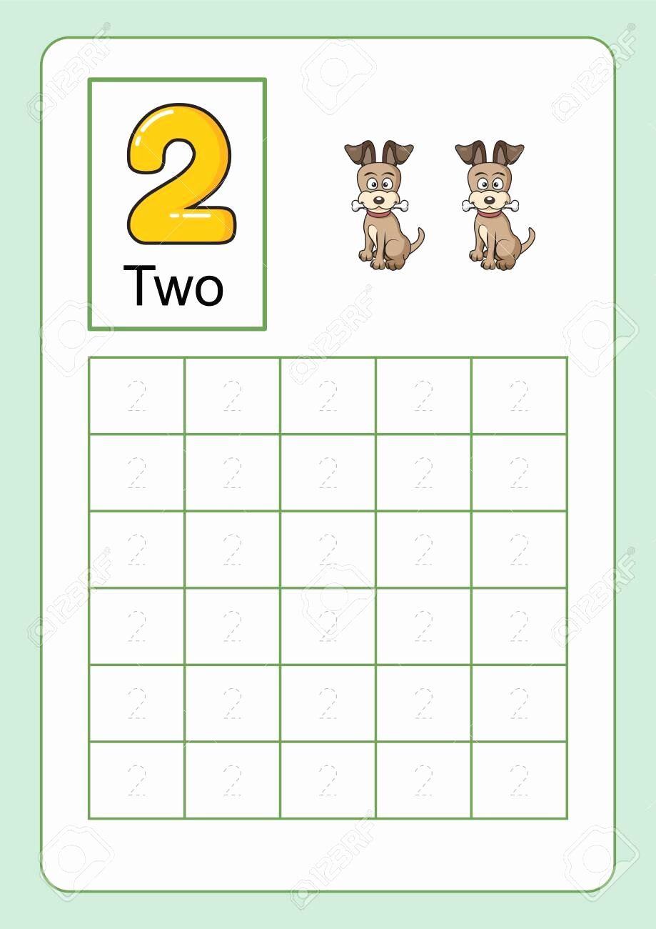 Number Tracing Worksheets for Kindergarten Printable Stock
