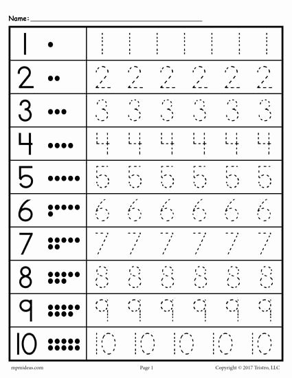 Number Tracing Worksheets for Kindergarten top Free Printable Tracing Worksheet Numbers 1 10