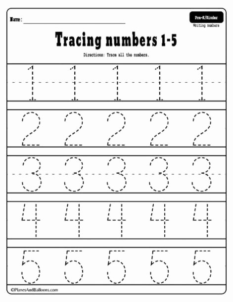 Number Tracing Worksheets for Kindergarten top Printable Tracing Numbers 1 5 Worksheets In 2020